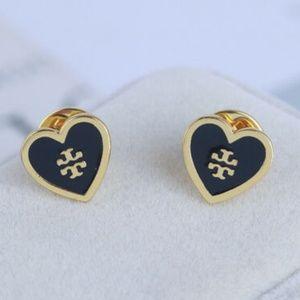 Tory Burch Earrings Black Heart Studs New